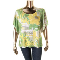 JM Collection Womens Floral Print Embellished Pullover Top