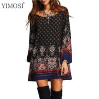 Womens Summer Dress Long Sleeve Floral Tribal Printed Vintage Dresses Large size Fashion Clothing Casual Beach