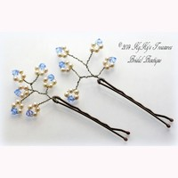 Pearl and Sapphire Bridal Hair Pins Set of 2, Something Blue, Bridal Hair Accessories, Wedding Accessories, Pearl Bobby Pins