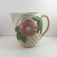Off White Floral Pitcher, Pink Flower, ribbed pottery, Vintage Farmhouse