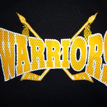 Vintage 90s Warriors Hockey Jersey - Black and Gold - Large -