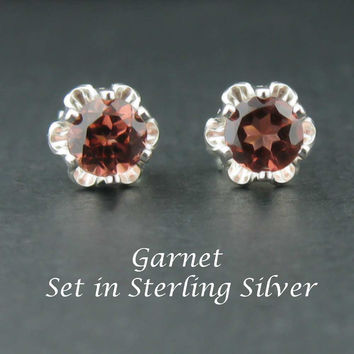 New Garnet Sterling Silver Earrings in 4mm Buttercup Settings