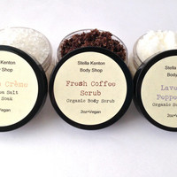 Custom Scrub & Bath Soak Gift Set, Fair Trade Coffee Scrub, Sea Salt Scrub