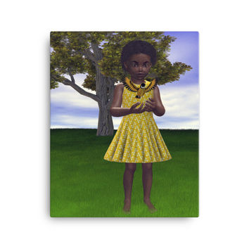 Sale Item ! African American Girl in Field with Bird Image Wrapped Canvas Art Print