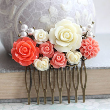 Flower Hair Comb Coral Orange Rose Cream Pearls Bright Colorful Hair Accessories Floral Collage Comb Bridal Hair Piece Summer Wedding