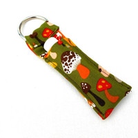 Retro Mushroom Chapstick Keychain - Mushroom Retro Green 70s Orange Woodland Lip Balm Holder Cozy