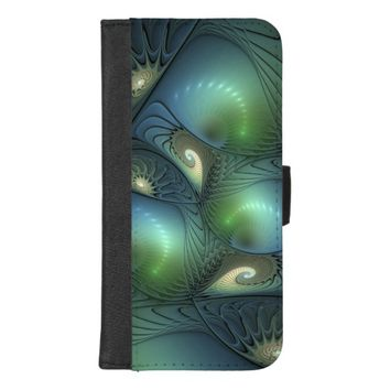 Cool Spirals Beige Green Turquoise Fractal iPhone 8/7 Plus Wallet Case