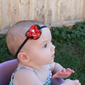 Red and White Flower with Black Lace Headband, Baby Girl Headband, Newborn Headband, Minnie Mouse Theme, Photo Prop, Baby Shower Gift