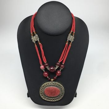 Turkmen Necklace Afghan Antique Tribal Fashion Multi Strand Beaded Necklace S139