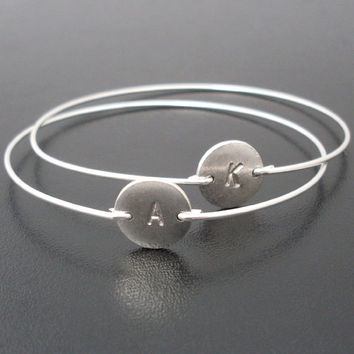 Silver Initial Bracelet, Personalized Silver Bracelet, Initial Bangle, Silver Monogram Bracelet, Personalized Bangle, Silver Custom Bracelet