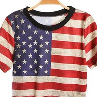National Flag Print Loose Short T-shirt