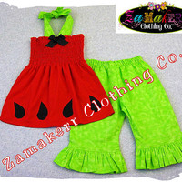 Girls Outfit Custom Boutique Clothing Red by ZamakerrClothingCo