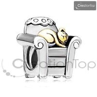 Charm for any Pandora bracelet Golden Cat In Chair Charm