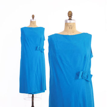 Vintage 60s Balmain Shift DRESS / 1960s Plus Size Bright Blue Raw Silk Bow Dress XL