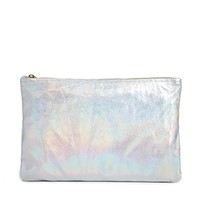 American Apparel Leather Clutch in Metallic Silver - Silver