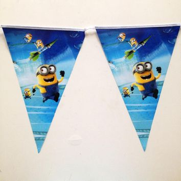 2.5m/set Blue Minions Banner And Flag Cartoon Theme Party For Kids Happy Birthday Decoration Party Supplies Baby shower Favors