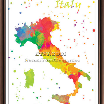 Map of Italy , Poster, Print, Watercolor, Map, Home Town, Art, Italy, Wall Decor, Painting, Silhouette