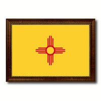 New Mexico State Flag Canvas Print with Custom Brown Picture Frame Home Decor Wall Art Decoration Gifts
