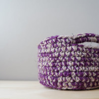 Rustic Wool Handled Basket in Purple or Green / Woven Basket / Crochet Wool Basket / Plum Sage Linen Yarn / Desk Accessory / Organization