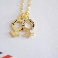 Venus Mars Symbols Necklace,Male and Female Jewelry,Gender Symbol Charm Necklace,Same Sex,Couple Necklace,Partner,Lesbian Charm Gay Marriage