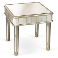 Cecily Mirrored Side Table, Silver, Standard Side Tables