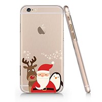 laus, Reindeer And Penguin Merry Christmas Clear Transparent Plastic Phone Case for iphone 6 PLUS 6s PLUS_ SUPERTRAMPshop