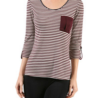 3/4 Sleeve Knit Top W/ Chest Pocket