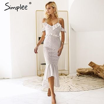 Simplee Sexy v-neck embroidery women lace dress Elegant off shoulder ruffles mermaid dress High waist lining white party dress