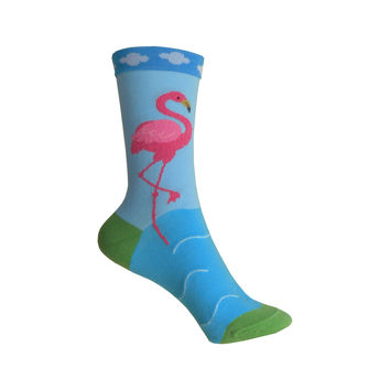 Boucle Flamingo Crew Socks in Blue