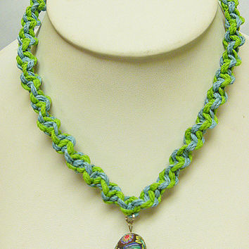 Light Blue and Lime Greem Hemp Necklace with Fimo Glass Mushroom handmade macrame jewelry  womens  girls hippie  unisex