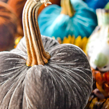 1 Large Steel Gray Silk Velvet Pumpkin, Fall Decor, Table Centerpiece, Homemade Rustic Decoration