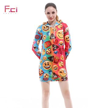 Autumn 3D Printed Emoji Women Long Sleeve Hoodie Dress Pullover Long Sweatshirt Dress Oversized Drawstring Long Hoodie Kawaii