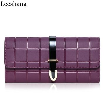 Leeshang Women Purse Genuine Leather Mobile Phone Purse Women Clutch Long Ladies Wallet Female Purse Organizer Card Holder