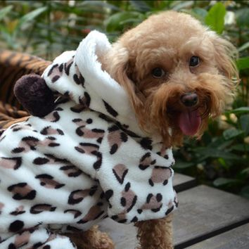 Warm Fleece Leopard Costume Sweater Clothing for Dog