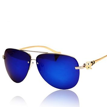 Metal Frame D Shape Synthetic Resin Lens Aviator Sunglasses with Fox Detail 052213 S0606 Color Dark Blue