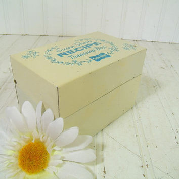 Retro Susan Shaw's Recipe Treasure Box - Vintage Stop & Shop Blue on White Painted Metal Box - Mid Century Iconic New England File Organizer