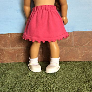 18 Inch Doll Skirt, Pink Doll Skirt, fits 18 Inch Dolls such as American Girl Dolls, Summer Doll Clothes, Upcyled