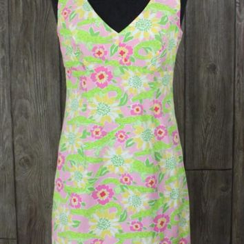 Cute Lilly Pulitzer 6 S size Tank Dress Pink Green Floral Alligators Womens Cotton