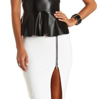 Textured Zipper Slit Midi Skirt by Charlotte Russe - White
