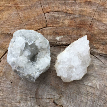 Crystal Set: Celestite and Quartz Crystal Clusters, Raw Crystals