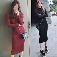 Cosy Winter Dress for women Long Sleeve Turtleneck Cocktail Party Club Bodycon Midi Dresses Female clothes vestidos Perfect body