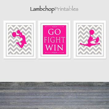 Go Fight Win, Cheerleading Set of 3, Hot Pink, Cheerleader Wall Art, Pom, 8x10, 16x20, Cheer art print, Girls Room, Teen art, Cheer