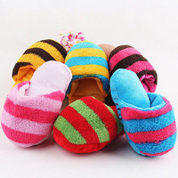 Dog Cat Toy Pet Puppy Chew Play Squeaker Squeaky Sound Plush Slipper Shape 3C