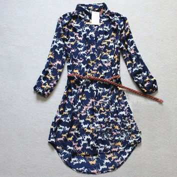 Vintage Print Long Sleeve Blouse Waistband One Piece Dress [4917901700]