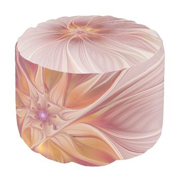 Soft Pink Floral Dream Abstract Modern Flower Pouf