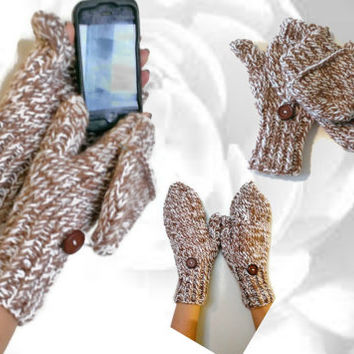 Handmade Convertible Mittens, Brown and White Flip Top Mittens, Flip Top Gloves, Fingerless Gloves, Brown and White Wrist Warmer