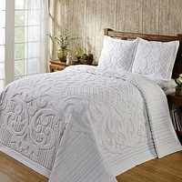 Queen size 100-Percent Cotton Chenille Bedspread in White