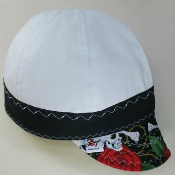 Special Skulls & Roses Size 7 5/8 Lined Canvas Welding Caps