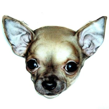 Baby Chihuahua Puppy Dog Head Shaped Vinyl Animal Themed Clutch Bag | DOTOLY