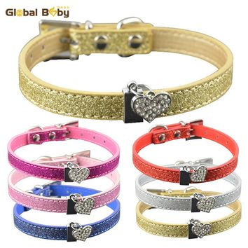 Brand High Quality Bling Pu Leather Dog Pet Cat Collar Necklace with Crystal Heart Charm